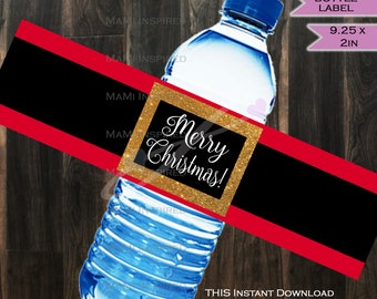 Christmas Water Bottle Label Beer Label Wrap - Merry Christmas Water Label Food Sign Holiday Party Decorations Printable INSTANT DOWNLOAD
