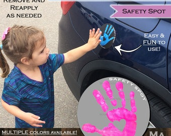 Safety Spot Kids Hand Car Magnet/ Toddler Child Handprint Car Safety/ Kids Car Safety/ Parking Lot Safety Handprint Safe Spot to Stand GRAY