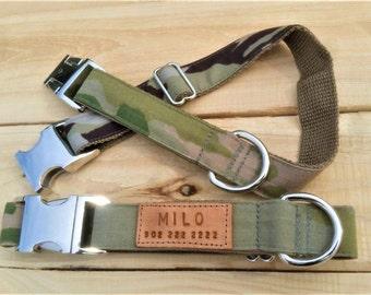 Green camo collar, camo collar, camouflage, camo dog collar, personalized dog collar, adjustable dog collar