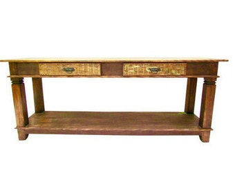 Antique Vintage Console Table - Eco-Friendly Reclaimed Solid Wood
