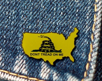 BUY 1, GET 1 Random Pin! Dont Tread On Me Enamel Pin Gadsden Flag Enamel Pin Live Free or Die Button Pin Snake Brooch