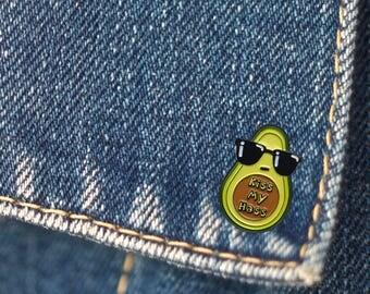 BUY 1, GET 1 Random Pin Free! Kiss My Hass Enamel Pin Avocado Lapel Pin Funny Pin Cute Pin Soft Enamel Pin Badge