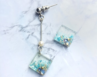 Earrings/ Square earrings/ Resin earrings/ Handmade jewelry/ Sea/ Summer