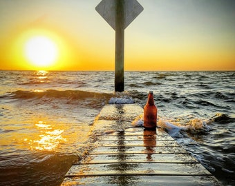 It's 5 o'clock somewhere Tampa, Florida, Beer Bottle on the Pier, Sunset, Wall Art, Print Photography, Wanderlust, Ocean