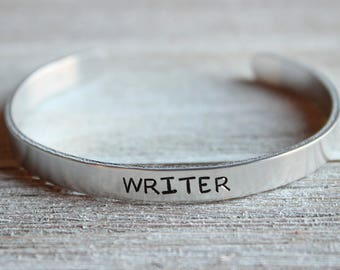 WRITER Bracelet - Gifts for Writers - Writer Jewelry - Writing - Stamped Bangle Bracelet - One Size Fits All