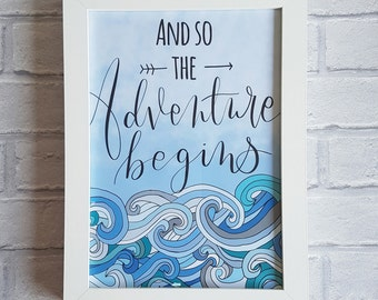 And so the adventure begins print, wall art, wall print, adventure gift, nursery print, travel gift, home decor, nursery decor, baby shower