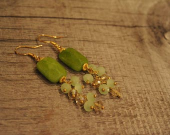 Jade Golden Earrings - Oriental green earrings - Statement earrings - A Gift for her - Women's drop earrings - Gift idea for women