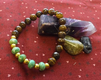Green Sea Stone and Tiger's Eye Bracelet  #182076