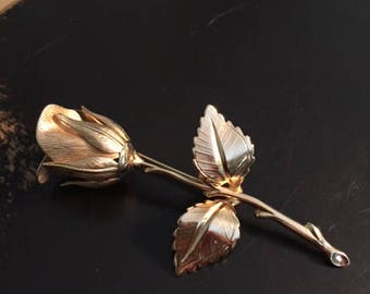 Vintage Giovanni Gold Tone Rose Brooch Pin 1970s