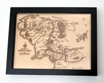 Framed map of Middle Earth, laser engraved on wood.