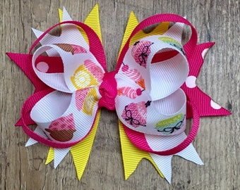 Stacked Cupcake Bow - Boutique Cupcake Bow - Stacked Boutique Bow - Stacked Birthday Bow - Boutique Birthday Bow - Birthday Cupcake Bow