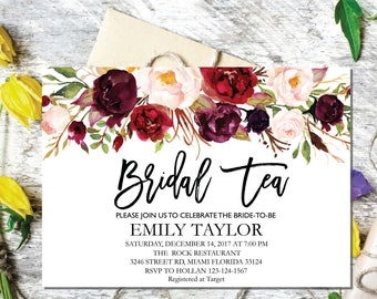 Bridal Tea Party Invitation, Editable Bridal Shower Invite Template, Boho Bridal Tea, Bridal Tea Party, INSTANT DOWNLOAD, Bridal Tea 07