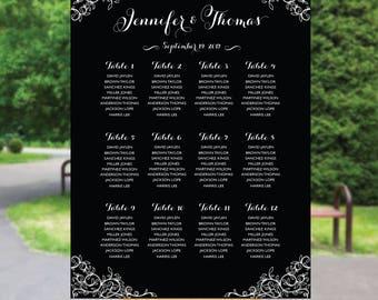 PRINTABLE Wedding Seating Chart, Wedding Seating Chart, Calligraphy wedding seating chart, Wedding seating chart navy, S89