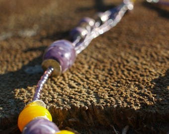 Hand made glass beads necklace - Purple and yellow necklace - Asymmetrical necklace - Multi strand necklace