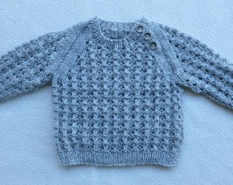 Baby Hand Knitted Wool Jumper Sweater Size Approx 3-4 months(Check Measurements Diagram)