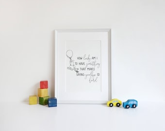 How Lucky Am I Classic Winnie the Pooh Printable Quote | Children's room decor Wall Art | Classic Winnie the Pooh Nursery Decor | Portrait