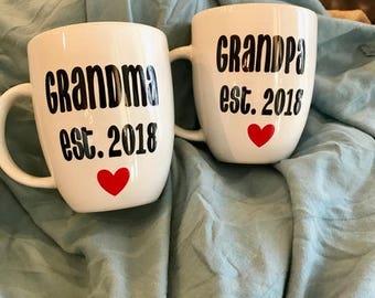 Grandparents mugs, Gift for new Grandparents, Grandma and Grandpa mugs, Pregnancy reveal mugs, New Grandma Gift, Pregnancy Announcement,