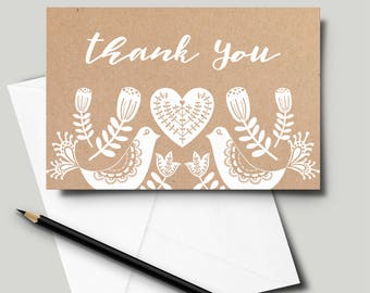 "Instant Printable Neutral Nordic Scandinavian Style DIY Thank You Card, 4"" x 6"" [Digital Download]"
