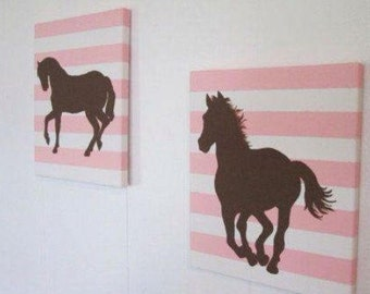 Set of 2 Horse silhouette canvas