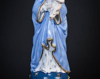Beautiful Antique Madonna w Child Jesus Bisque Porcelain Statue Virgin Mary 3