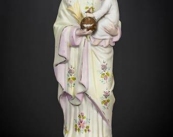 """13"""" Saint Joseph w Child Jesus Antique Bisque Porcelain Statue Christ Figure 3"""