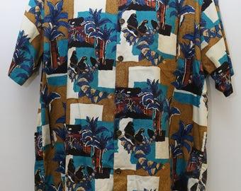"Rare 90's Vintage ""HILO HATTIE"" Abstract Patterned Short-Sleeve Shirt Sz: XXLARGE (Men's Exclusive)"