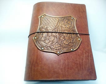 Sheridan Embossing Herbal Coat of Arms A5 Leather Journal Cover Refillable Vegebably Tanned Leather 6 Ring Binder Thick Leather Organizer