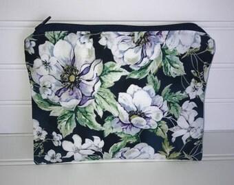 Handmade Zipper Pouch | White & Purple Watercolor Floral