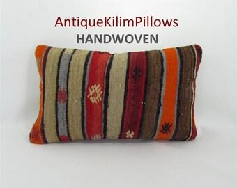 embroidered pillow kilim pillow 12x20 lumbar pillow sofa furniture pillow living room decor decorative pillows 001363