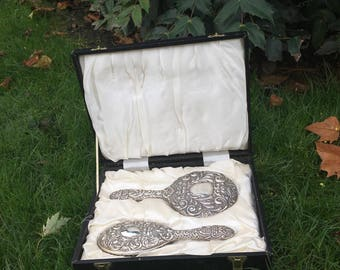 Antique Brush and Mirror Set in Original Case