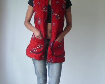 Vintage Quilted Cotton Chinese Red Floral Vest Waistcoat Boho Jacket, And gave him string and sealing wax and other fancy stuff.