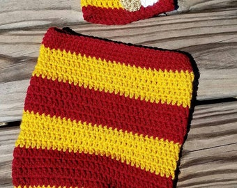 Crochet Harry Potter Inspired Baby Cocoon & Hat Beanie - Sizes Newborn to 0-3 Months - Photo Prop