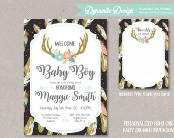 Boho Chic Baby Shower Invitation