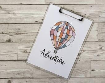 Hot air balloon print illustration. Adventure print digital instant download