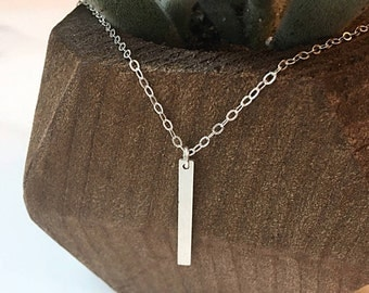 Delicate Bar Necklace, Borderline Necklace, Dainty Necklace, Simple Sterling Silver Necklace, Layered Necklace