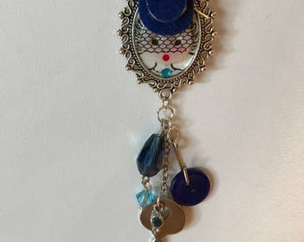 Vintage, assemblage, found items, one-of-a-kind, 1930's/40's Betty Button pendant/necklace with key, button and beads, FREE SHIPPING