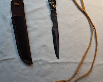 Handmade Neck Knife with Handmade Leather Sheath