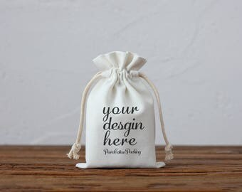 50 custom logo white Cotton Canvas drawstring wedding favor bag jewelry packaging kid party bags product personalize print pouch bag