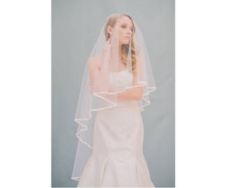 Soft Drop Veil Fingertip Length Wedding Bridal Veil with Simple Ribbon Edge - Available in White
