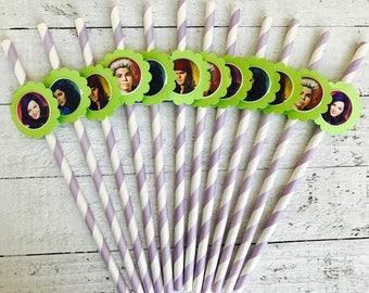 Descendants party favor 12 straws Descendants birthday Descendants decorations descendants invitation descendants cupcake descendant cake