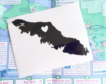 Vancouver Island Decal/ Decal/ Vinyl Decal/ Laptop Sticker/ Car Decal/ Vinyl Stickers/ Geography Decals/ Vancouver Island