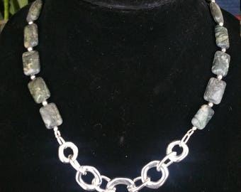 Serpentine and silver link statement necklace
