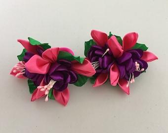 Kanzashi Fuschia Elastic Tie, Kanzashi Flower Hair Tie, Kanzashi Hair Accessories