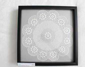 Framed Doily Art, Crochet Wall Art, Bedroom Art , Framed Textile Art,  Handmade