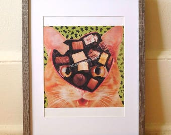 "Dorm Art/Wall Print- ""Choco Cat"""