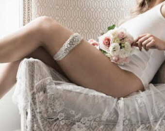 Full Glam Crystal and Lace Wedding Bridal Garter