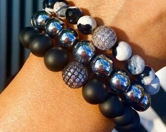 The London bracelets Set / black and silver / semi-precious stones/ natural stones/ gemstones / black and white / silver tones