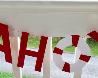 Ahoy Banner, Ahoy and Anchor Banner, Ahoy Sign