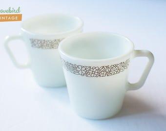2 Pyrex Mugs - Brown Pattern