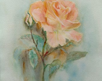 Rose. Original watercolor.40x30cm